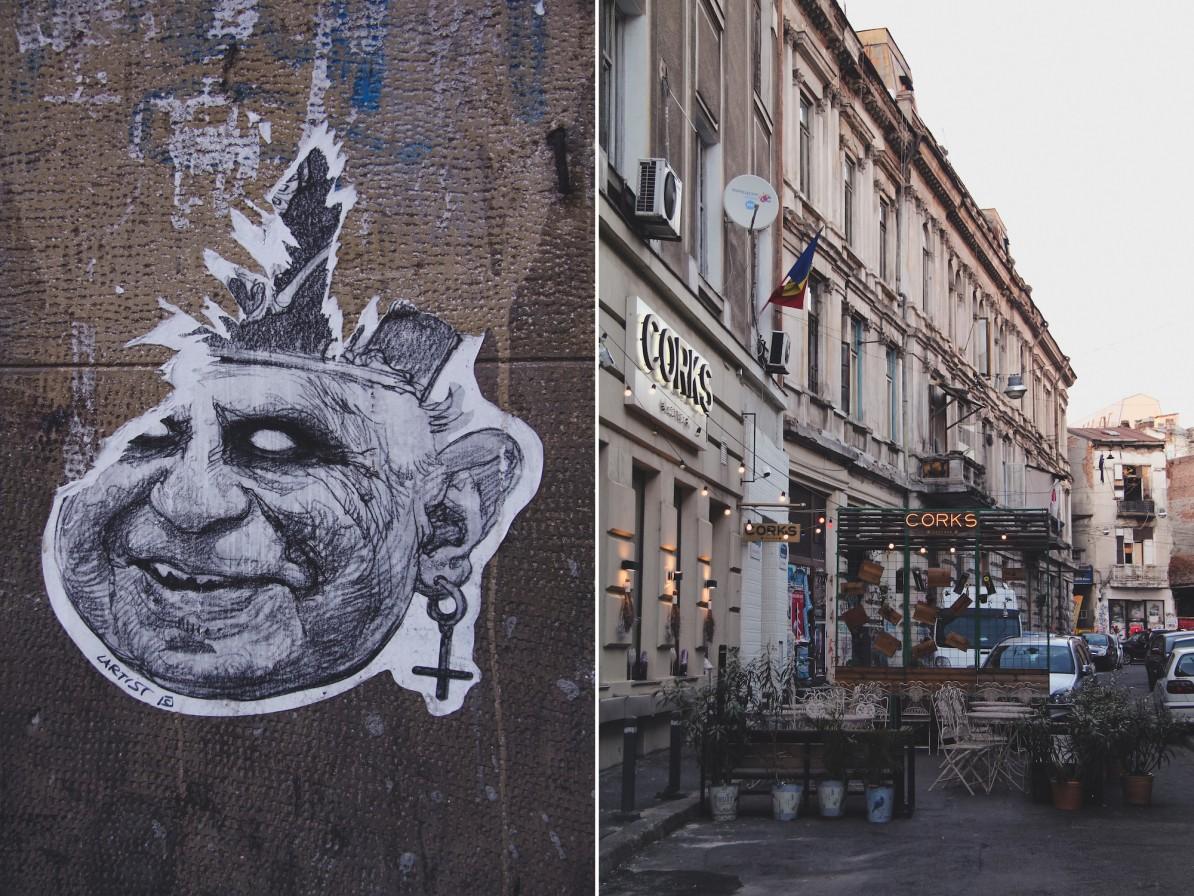 bukarest rumänien city guide wasmitb collage streetart papst corks straße architektur